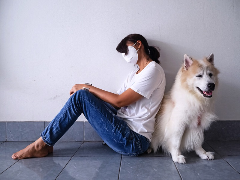 Lady with Coronavirus at home with dog